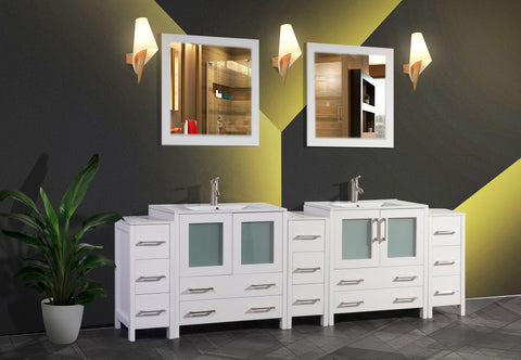 96 Inches Double Sink Modern Bathroom Vanity Set with Compact 2 Shelves 13 Drawers White Ceramic Top Bathroom Cabinet with Free Mirrors VA3030-96