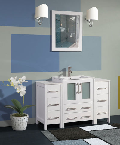 48-inch Single Sink Modern Bathroom Vanity Combo Set 2 Side Cabinets 1 Shelf Ceramic Top Bathroom Cabinet with Free Mirror - VA3024-48