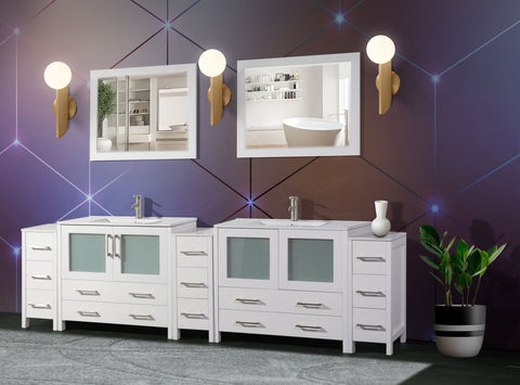 108-inch Double Sink Modern Bathroom Vanity Compact Set 2 Shelves, 13 Drawers - Ceramic Top & Bathroom Cabinet with Two Free Mirror - VA3036-108