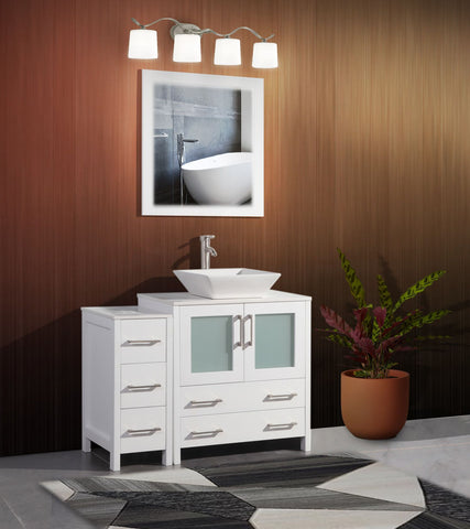 42 Inches Single Sink Bathroom Vanity Combo Set 5 Drawers 1 Shelf 2 Cabinet White Quartz Top and Ceramic Vessel Sink Bathroom Cabinet with Free Mirror VA3130-42