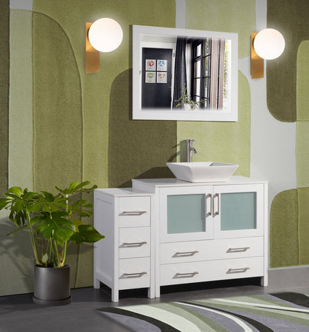 48 Inches Single Sink Bathroom Vanity Combo Set 5 Drawers 1 Shelf 2 Cabinet White Quartz Top and Ceramic Vessel Sink Bathroom Cabinet with Free Mirror VA3136-48