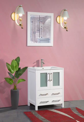 24 Inches Single Sink Bathroom Vanity Compact Set 2 Large Folding Doors 1 Shelf Ceramic Top Bathroom Cabinet with Free Mirror VA3024