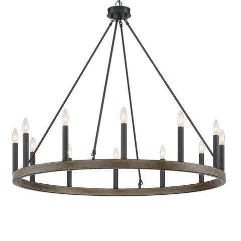 Vanity Art 12 Lights Wagon Wheel Chandelier Light Farmhouse  Candle Ceiling Light Fixtures for Living Room Kitchen Dining Room 10552DW-BK