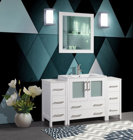 54 Inches Single Sink Bathroom Vanity Combo Set Modern 8 Drawers 1 Shelf 3 Cabinets White Ceramic Top Under Sink Vanity with Mirror VA3030-54