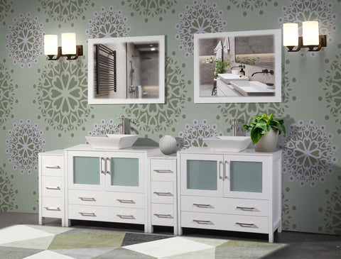 96 Inches Double Sink Bathroom Vanity Combo Set 10 Drawers 2 Shelves 4 Cabinets White Quartz Top and Ceramic Vessel Sink Bathroom Cabinet with Free Mirrors VA3136-96