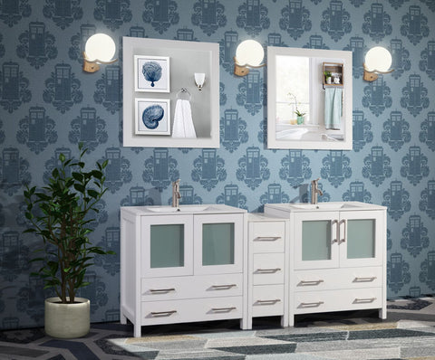 72 Inches Double Sink Modern Bathroom Vanity Set Compact 2 Shelves 7 Drawers White Ceramic Top Bathroom Cabinet with Free Mirrors VA3030-72