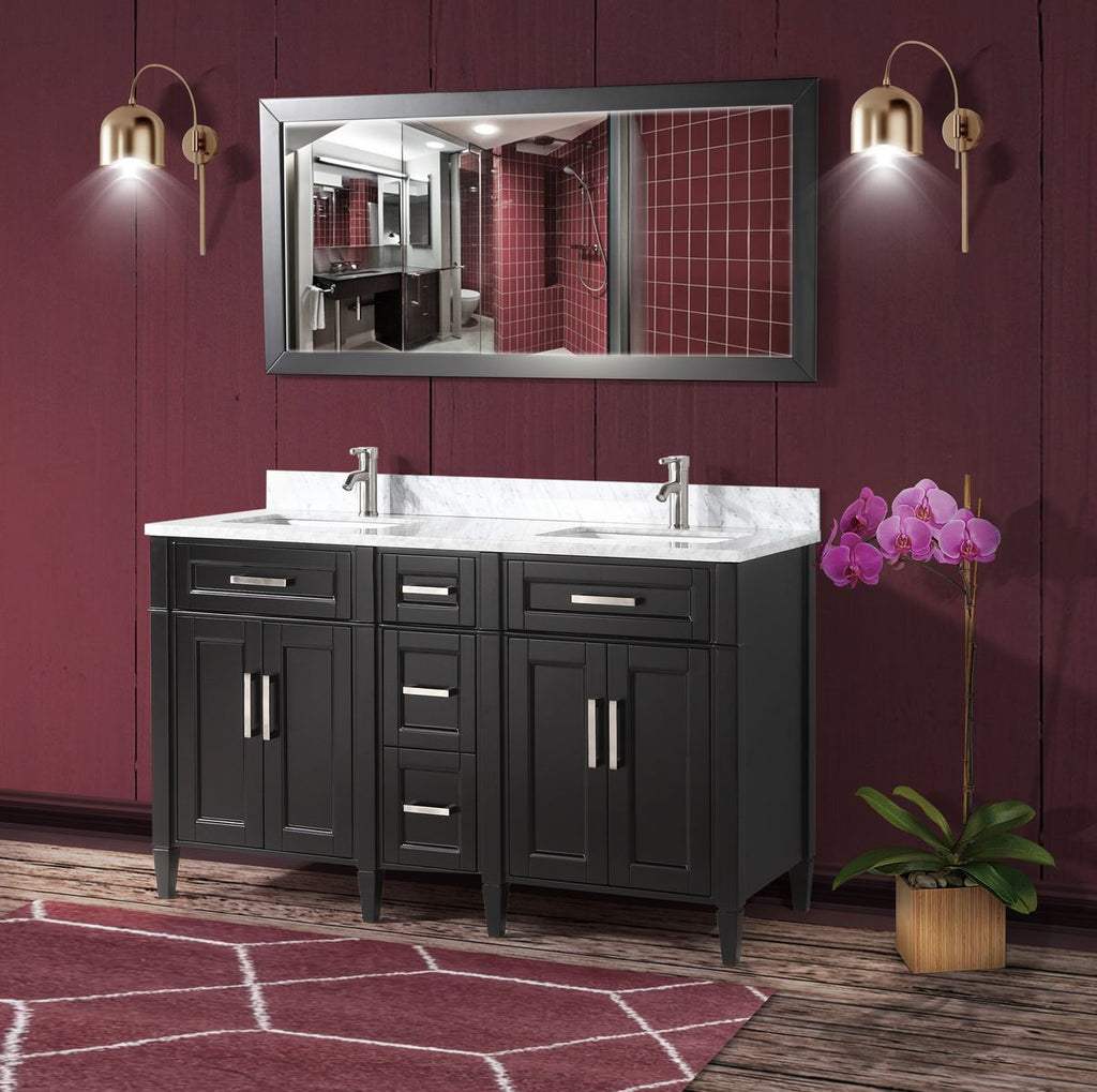 60 Inch Double Sink Bathroom Vanity Set Super White Phoenix Stone To Homebeyond