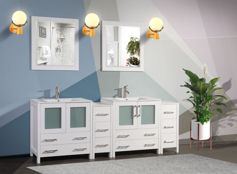 84 Inches Double Sink Modern Bathroom Vanity Set with Compact 2 Shelves 10 Drawers White Ceramic Top Bathroom Cabinet with Free Mirrors - VA3030-84