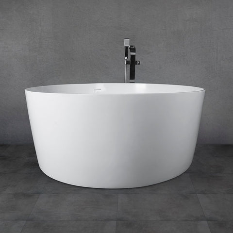 "55"" Freestanding Solid Surface Bathtub Soaking Tub with Matte/Glossy White Finish UPC Certified Slotted Overflow and Pop-up Drain VA6915-M/G"