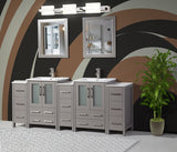 84-inch Double Sink Bathroom Vanity Combo Set 3 Side Cabinets 2 Shelves Ceramic Top Bathroom Cabinet with Free Mirrors - VA3024-84