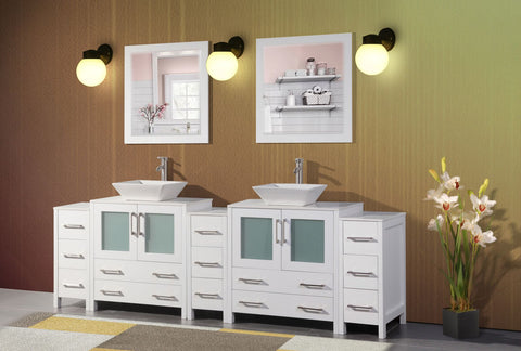 96 Inches Double Sink Bathroom Vanity Combo Set 13 Drawers 2 Shelves 5 Cabinets Quartz Top and Ceramic Sink Bathroom Cabinet with Mirrors VA3130-96