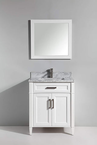 30 Inches Single Sink Bathroom Vanity Set Carrara Marble Stone Top 1 Drawer 1 Shelf Soft Closing Doors Undermount Sink with Free Mirror VA2030