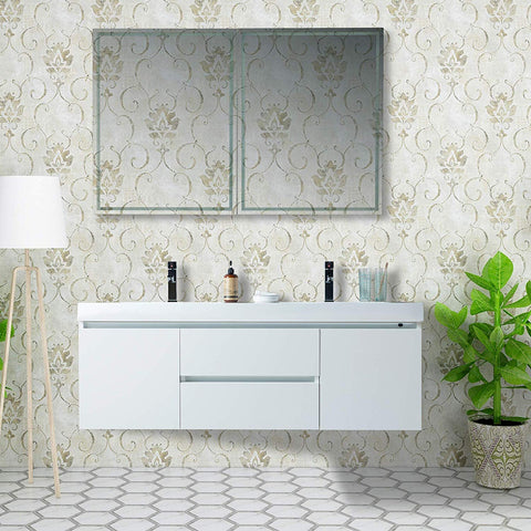 60-Inch Double Sink Wall-Mounted Bathroom Vanity Set | White Engineered Stone Top High-Glossy Finish - Two Drawers - VA6060DW