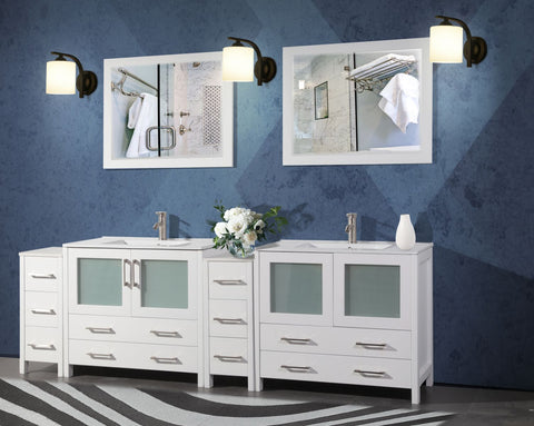 96 Inches Double Sink Modern Bathroom Vanity Compact Set 2 Shelves 10 Drawers Ceramic Top Bathroom Cabinet with Free Mirrors VA3036-96