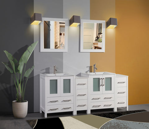 72 Inches Double Sink Bathroom Vanity Combo Set 4 Cabinets, 2 Shelves Ceramic Top Bathroom Cabinet with Two Free Mirrors VA3024-72