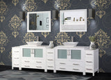 108-Inch Double Sink Bathroom Vanity Combo Set 13-Drawers, 2-Shelf, 5 Cabinet White Quartz Top and Ceramic Vessel Sink Bathroom Cabinet with Free Mirrors - VA3136-108