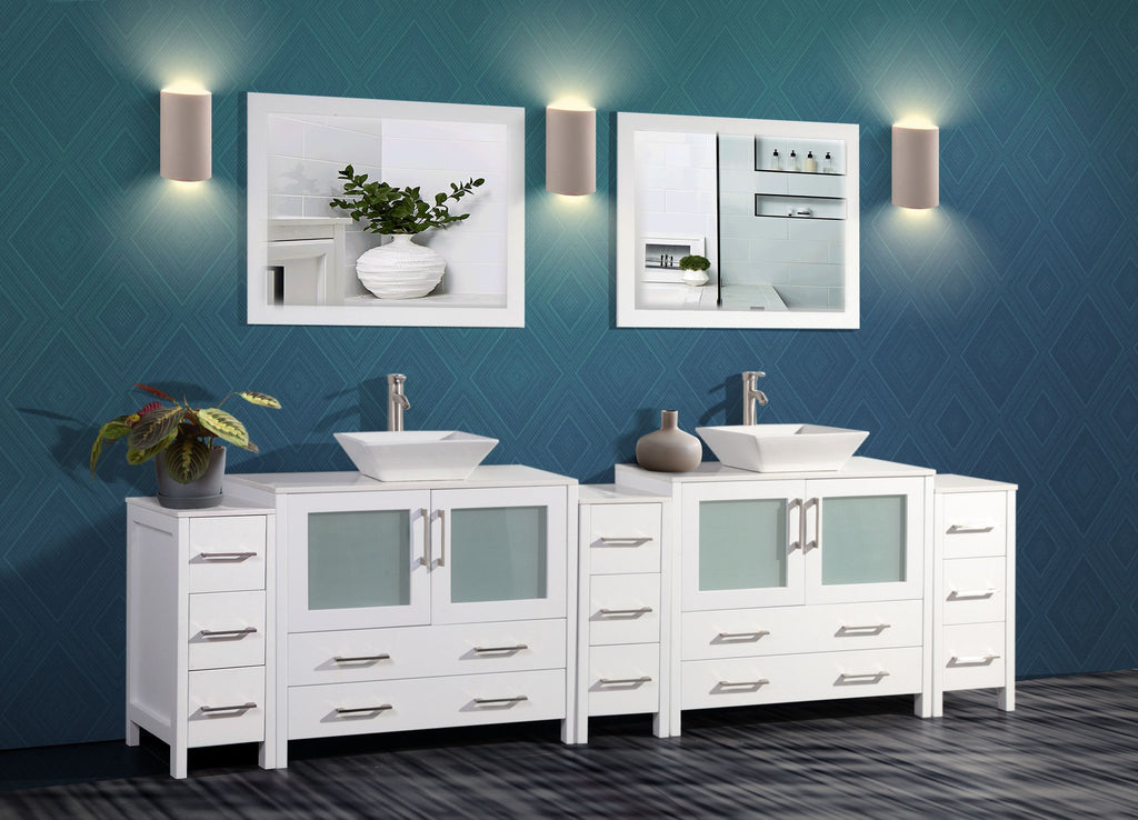 108 Inch Double Sink Bathroom Vanity Combo Set 13 Drawers 2 Shelf 5 Homebeyond