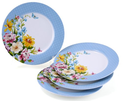"Katie Alice ""English Garden"" Floral Porcelain Side Plate - Set of 4/6"