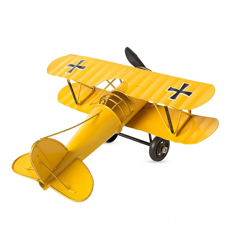 Vintage Metal Military Aircraft - Yellow