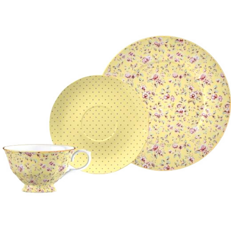 Ditsy Floral Yellow Afternoon Tea Set