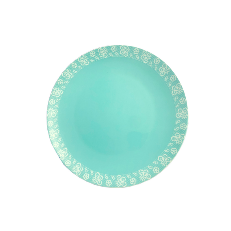 Turquoise Border Plates - Set of 2/4