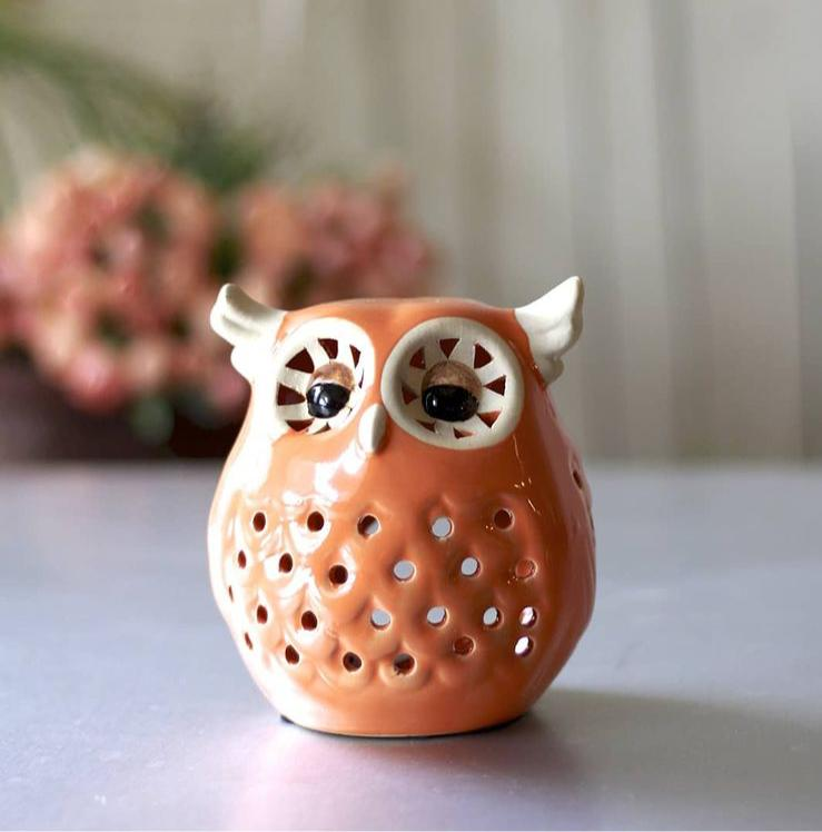 Owl- Pottery Ceramic Table Tea-Light Holder (Orange)