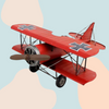 Vintage Metal Military Aircraft - Red