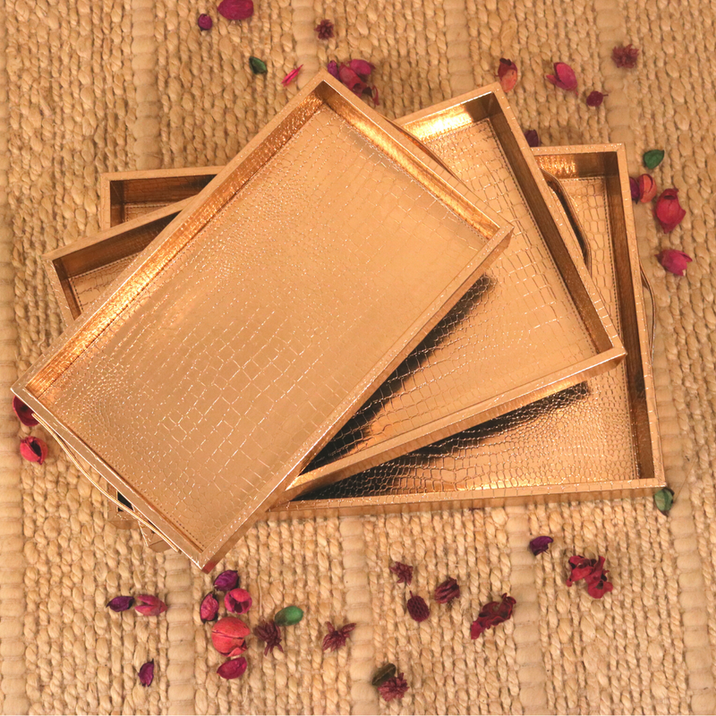 Rose Gold Leather Tray - Set of 3