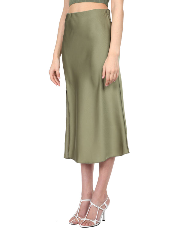 Lulu & Rose Tia Midi Skirt Green Side View