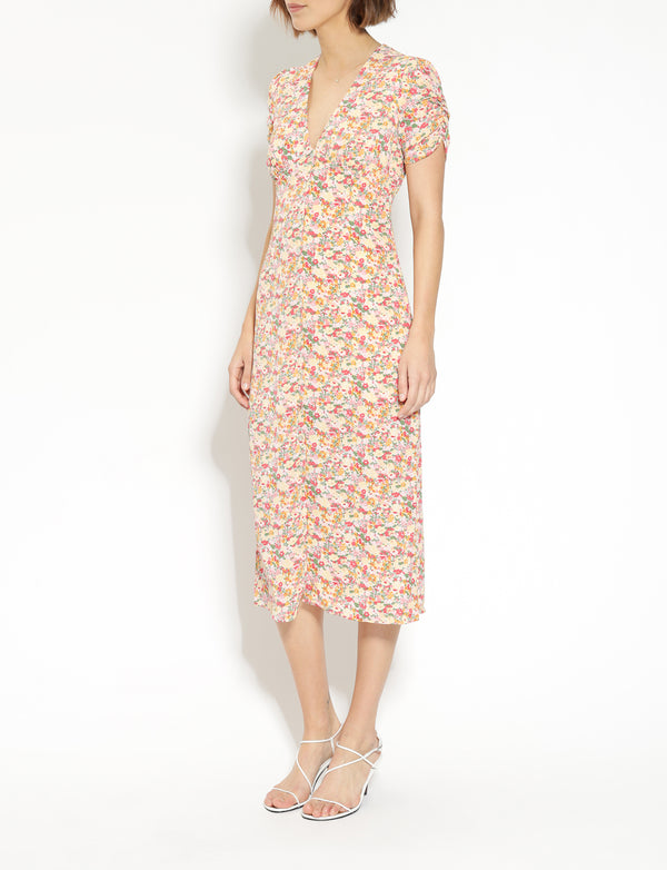 LUNA BUTTON FRONT MIDI DRESS
