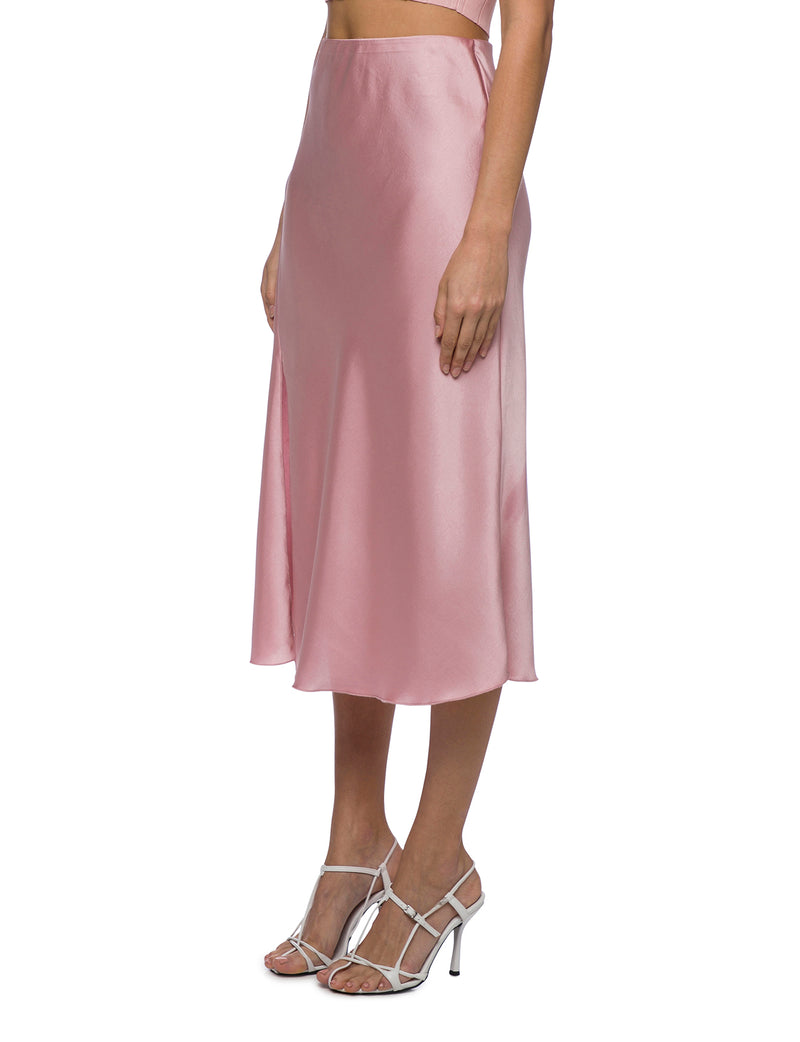 Lulu & Rose Tia Midi Skirt Pink Side View Left