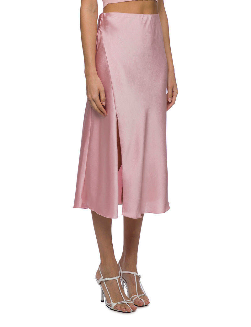 Lulu & Rose Tia Midi Skirt Pink Side View Right