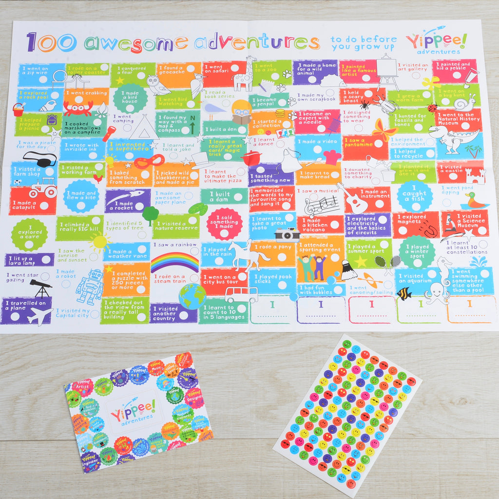 100 awesome adventures poster and choice of themed cardboard characters
