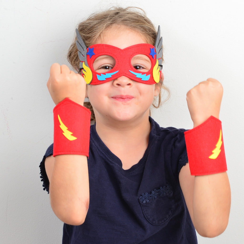 Superhero dress up - Design your own superhero mask and cuffs (red)