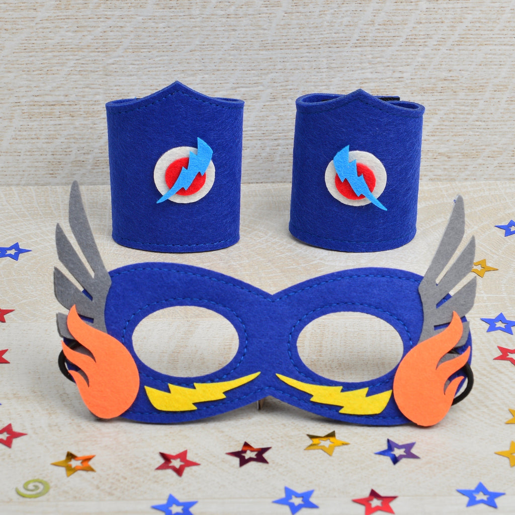 Superhero dress up - Design your own superhero mask and cuffs (blue)