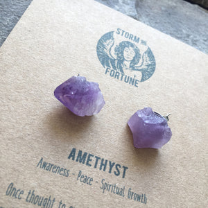 'Apollo' Raw Amethyst Gemstone Earrings - Earrings