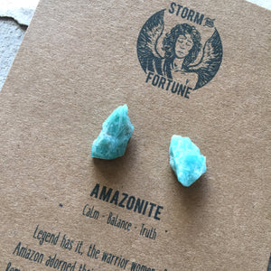 'Apollo' Raw Amazonite Gemstone Earrings - Earrings