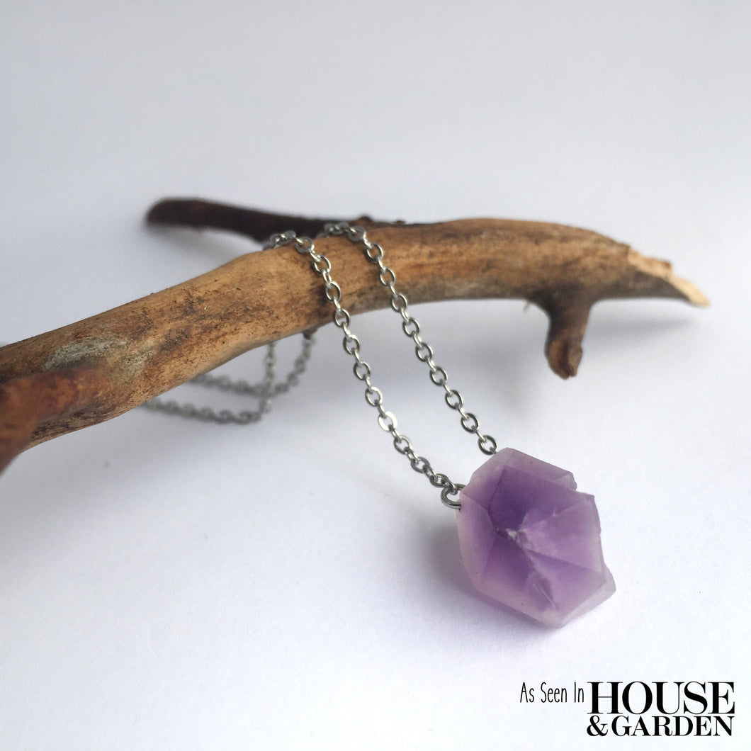 'Artemis' Raw Amethyst Gemstone Necklace