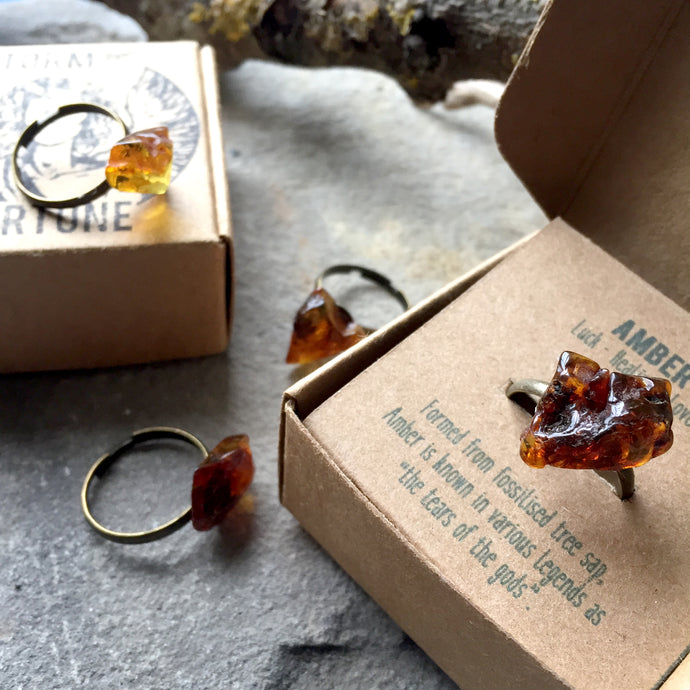 'Persephone' Baltic Amber Ring In Antique Bronze