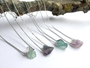 'Artemis' Raw Fluorite Gemstone Necklace - Necklace