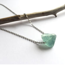 Load image into Gallery viewer, 'Artemis' Raw Green Fluorite Gemstone Necklace