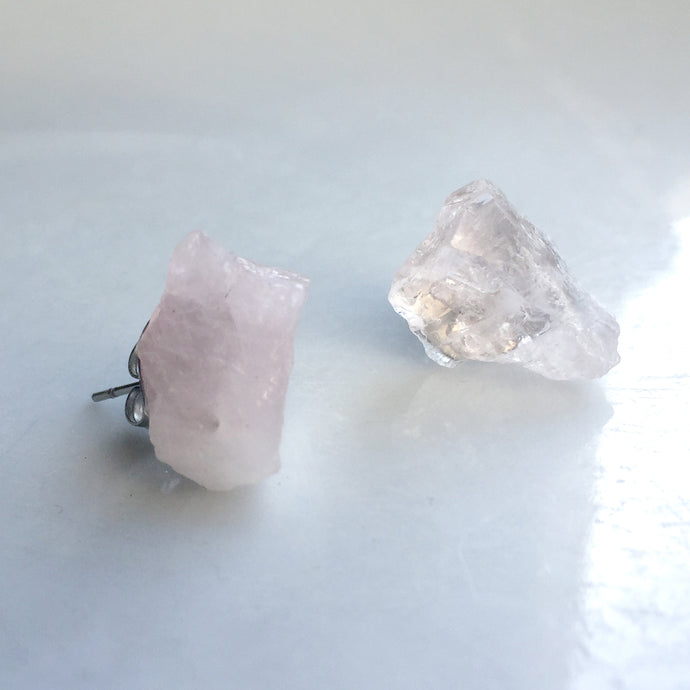'Apollo' Raw Rose Quartz Gemstone Earrings - Earrings