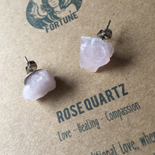 Load image into Gallery viewer, 'Apollo' Raw Rose Quartz Gemstone Earrings - Earrings