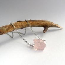 Load image into Gallery viewer, 'Artemis' Raw Rose Quartz Gemstone Necklace - Necklace
