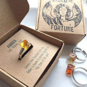 'Persephone' Baltic Amber Ring In Silver Tone