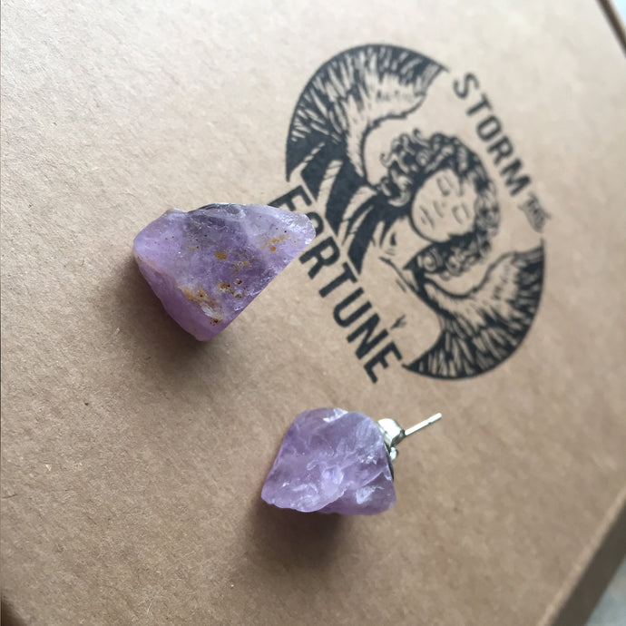 Freckled Amethyst Earrings - Earrings
