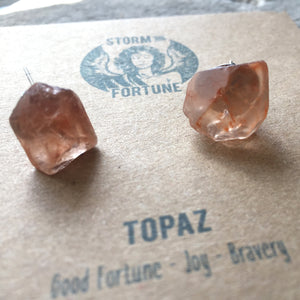 'Apollo' Raw Topaz Gemstone Earrings - Earrings