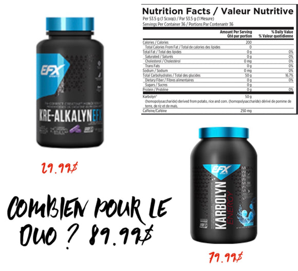 All Duo ->American EFX Karbolyn Energy et EFX Kre-Alkalyn EFX