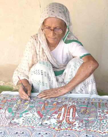 Mahasundari Devi an artist from Madhubani famous for Mithila Painting