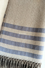 Elegant Beige & Blue Colored Pure Woollen Kullu Scarf for Men | Handmade in Himachal